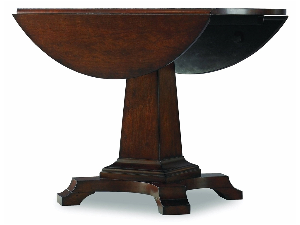 Newest Jefferson Extension Round Dining Tables Throughout Natural Polished Mahogany Wood Dining Table With Black Veneer Top (View 12 of 25)