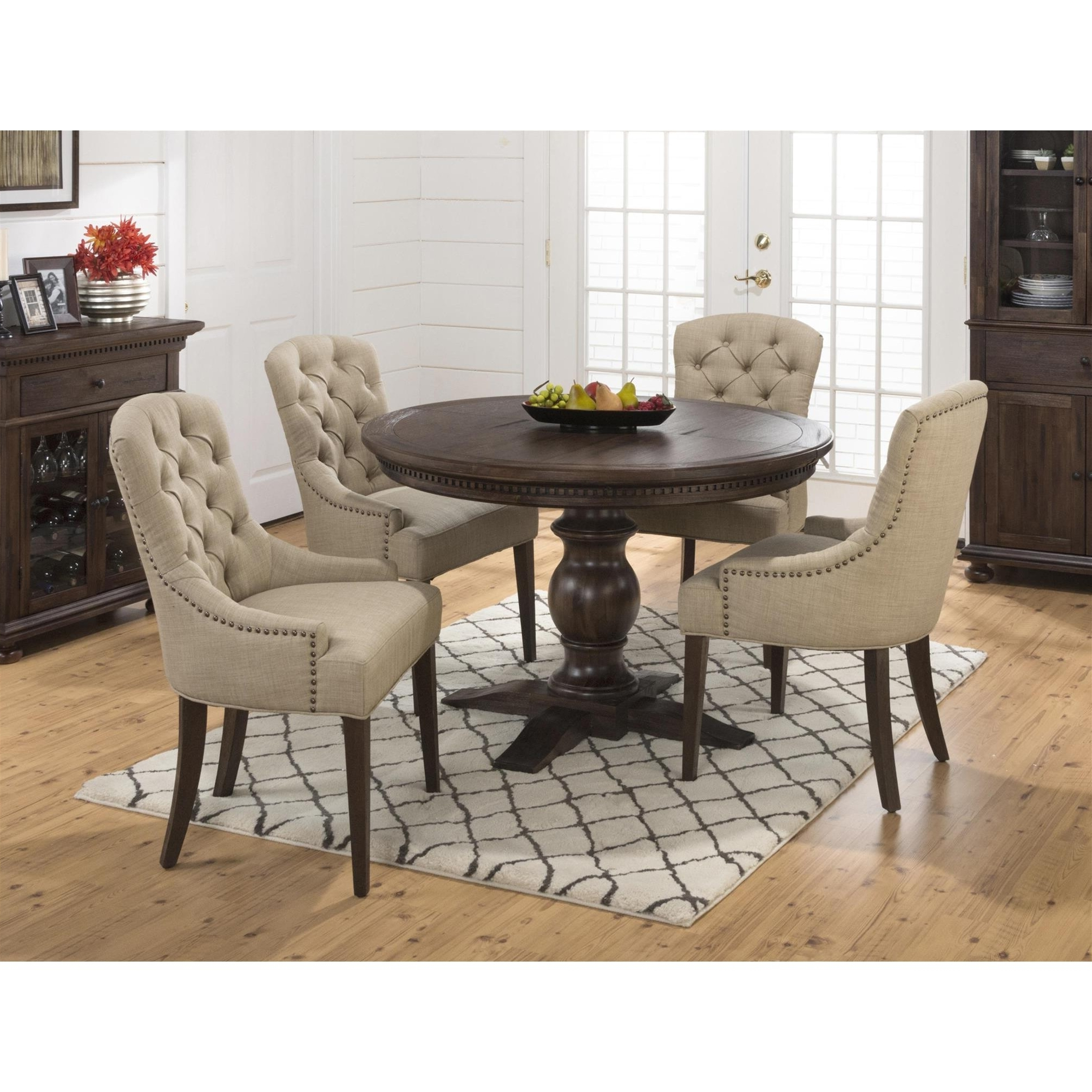 Newest Jofran Geneva Hills 5Pc Round Dining Table Set With Tufted Chairs for Craftsman 5 Piece Round Dining Sets With Side Chairs