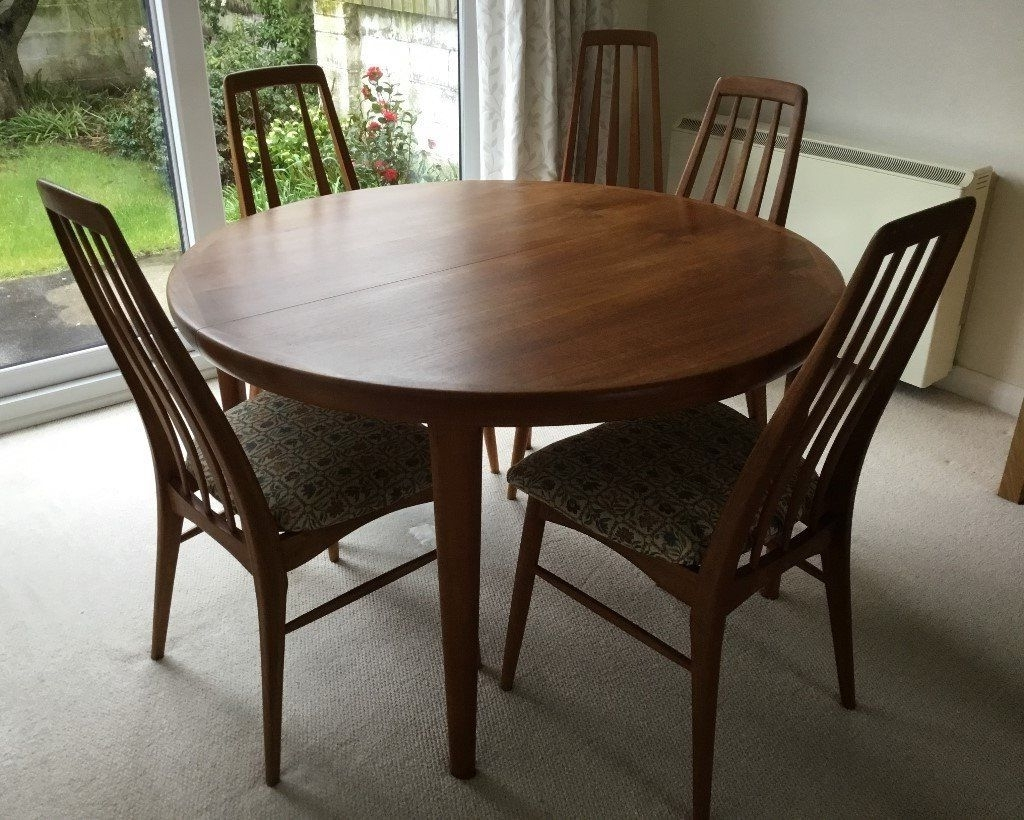 Newest Koefoeds Hornslet Danish Teak Circular, Extending Dining Room Table For Circular Extending Dining Tables And Chairs (View 19 of 25)