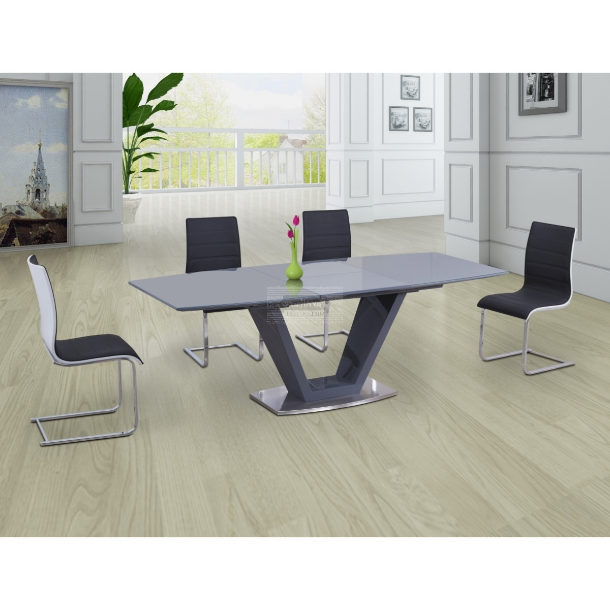 Newest Lorgato Grey High Gloss Extending Dining Table - 160Cm To 220Cm intended for Grey Glass Dining Tables