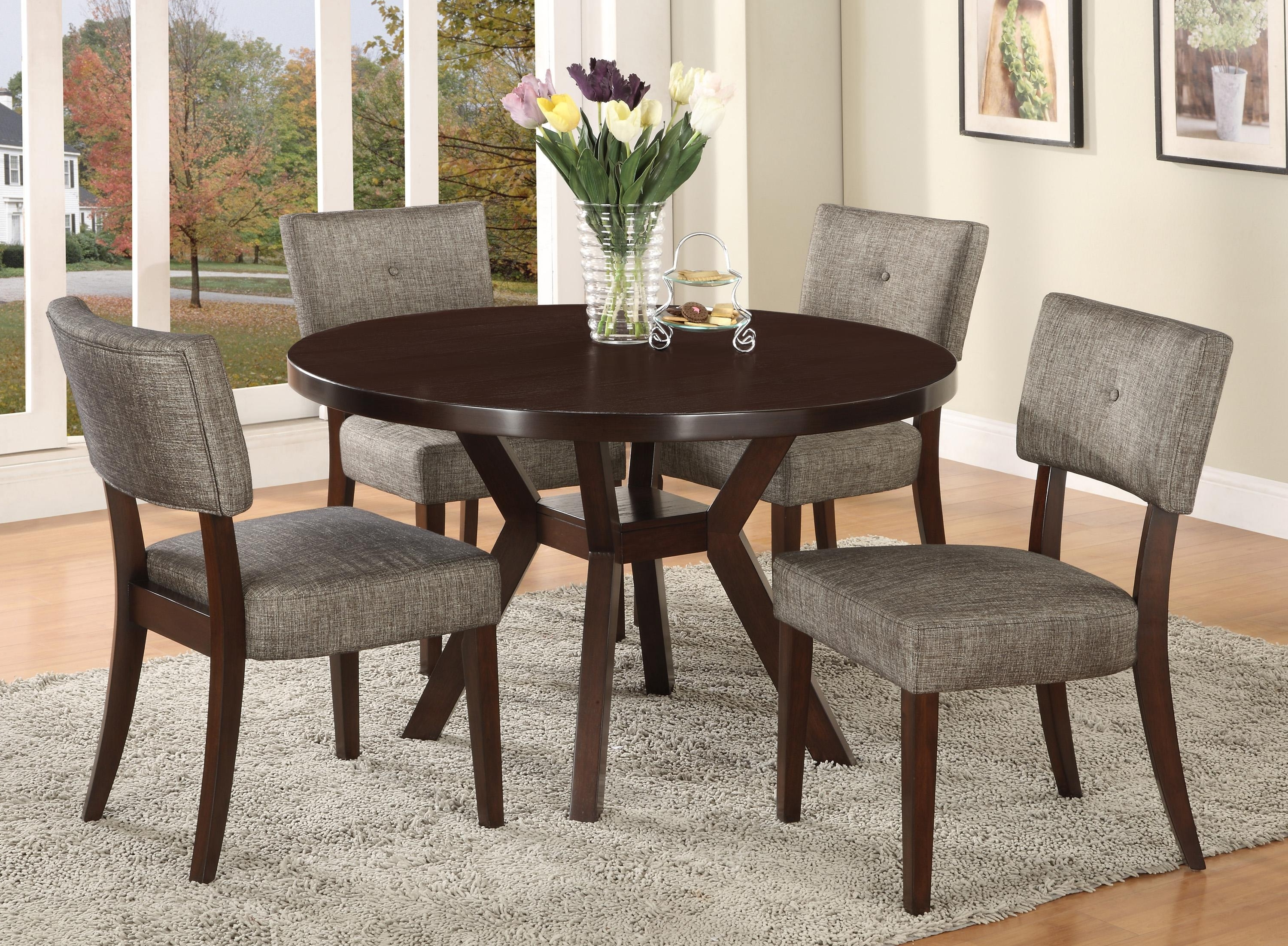 Newest Macie Round Dining Tables Throughout Crown Mark Kayla 5 Piece Dining Table And Chair Set (View 6 of 25)