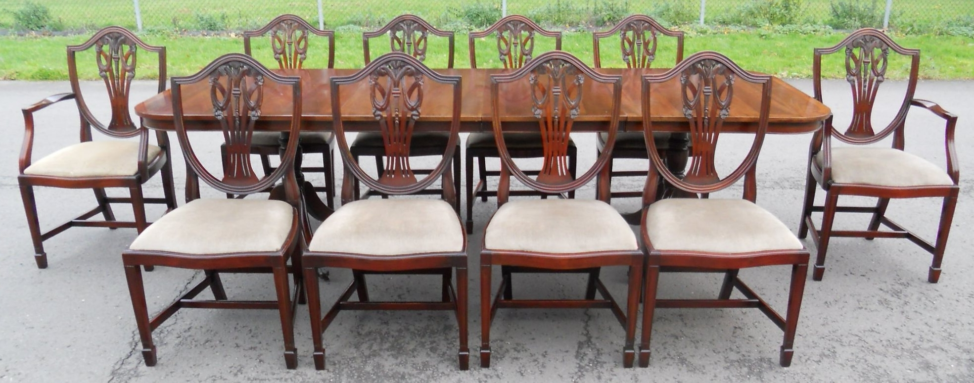 Newest Mahogany Extending Dining Tables And Chairs in Set Of Ten Mahogany Dining Chairs & Matching Extending Dining Table