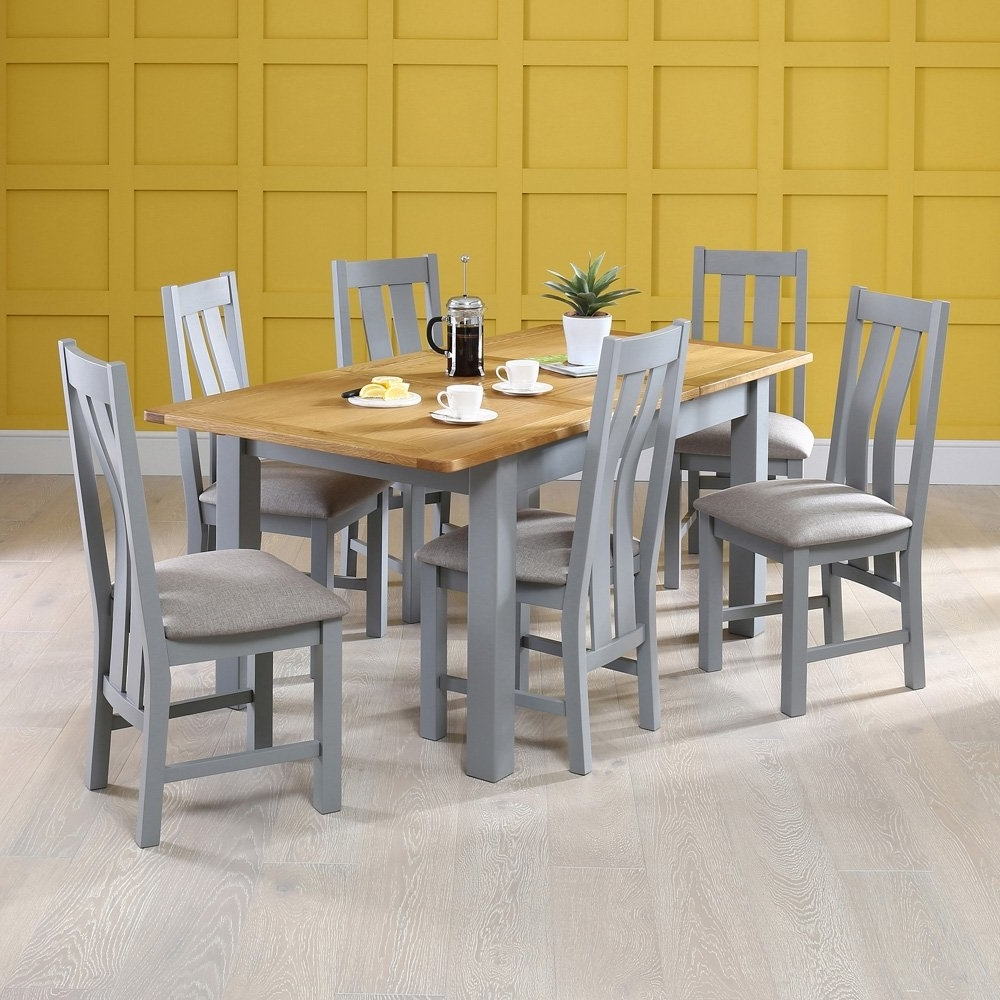 Newest Manor Grey Painted Dining Table With Oak Top With 6X Dining Chairs Regarding Painted Dining Tables (View 11 of 25)