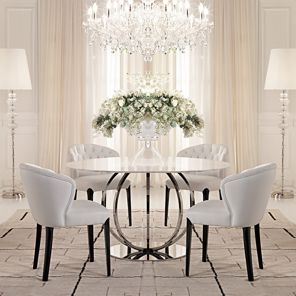Newest Marble Dining Chairs in High End Designer Italian Marble Dining Set