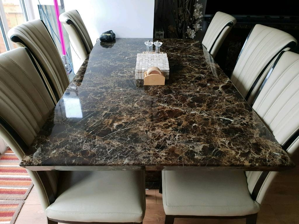 Newest Marble Effect Dining Tables And Chairs inside Marble Effect Dining Table And Chairs