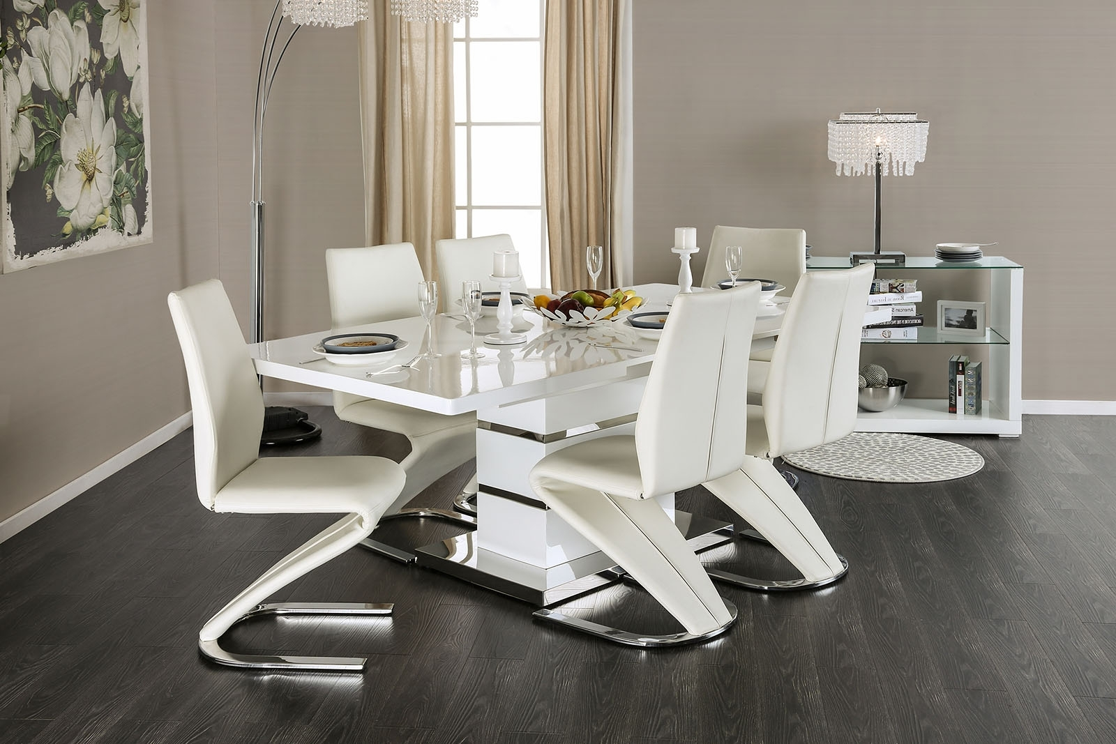 Newest Midvale Contemporary Style White High Gloss Lacquer Finish & Chrome In White Gloss Dining Tables Sets (View 13 of 25)