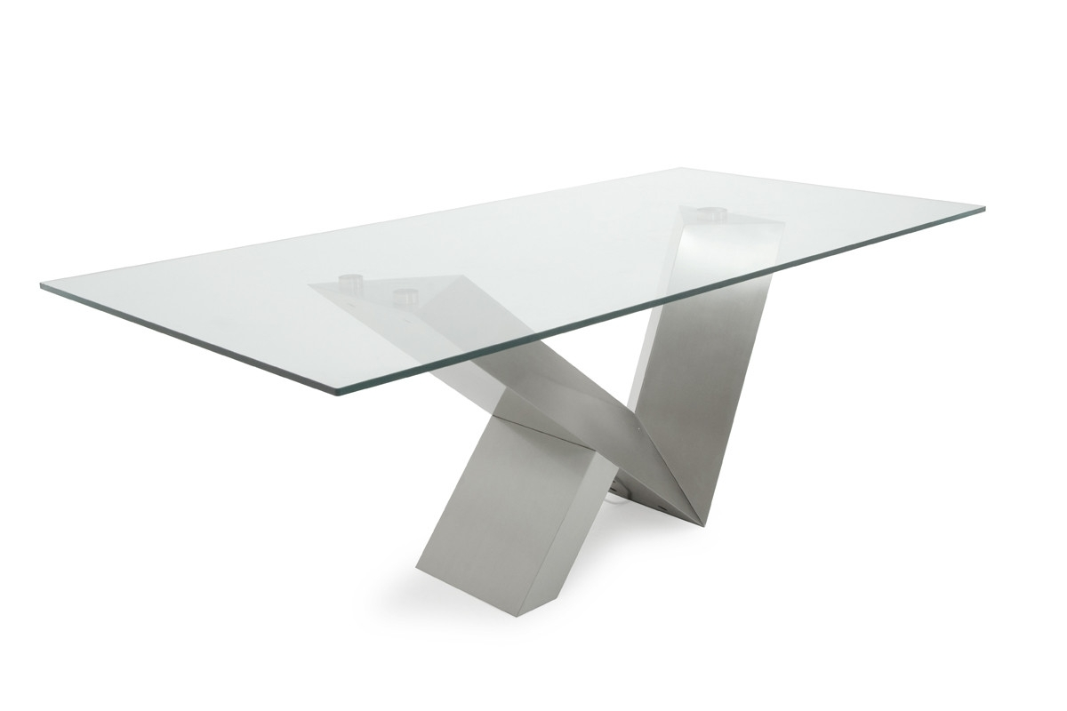 Newest Modrest Harlow Modern Glass & Stainless Steel Dining Table Pertaining To Glass And Stainless Steel Dining Tables (View 22 of 25)