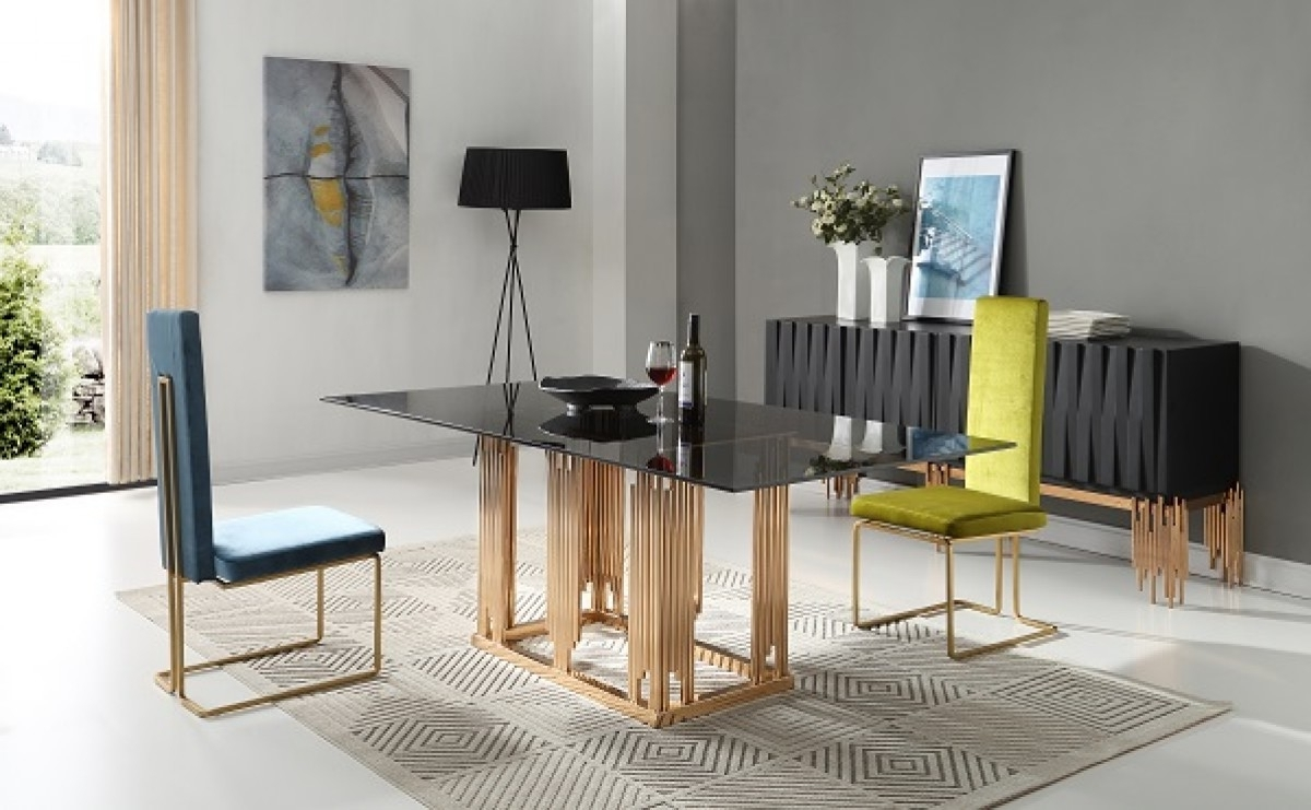 Newest Modrest Token Modern Smoked Grey Glass & Rosegold Dining Table – Buy Within Modern Dining Tables And Chairs (View 19 of 25)