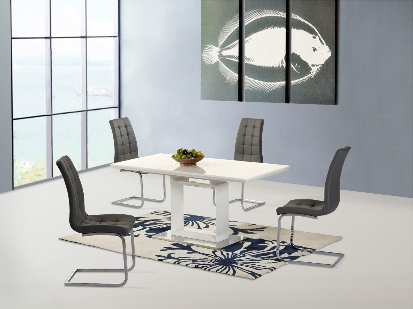 Newest New White High Gloss Extending Dining Table And 6 Grey Chairs For High Gloss White Extending Dining Tables (Gallery 11 of 25)