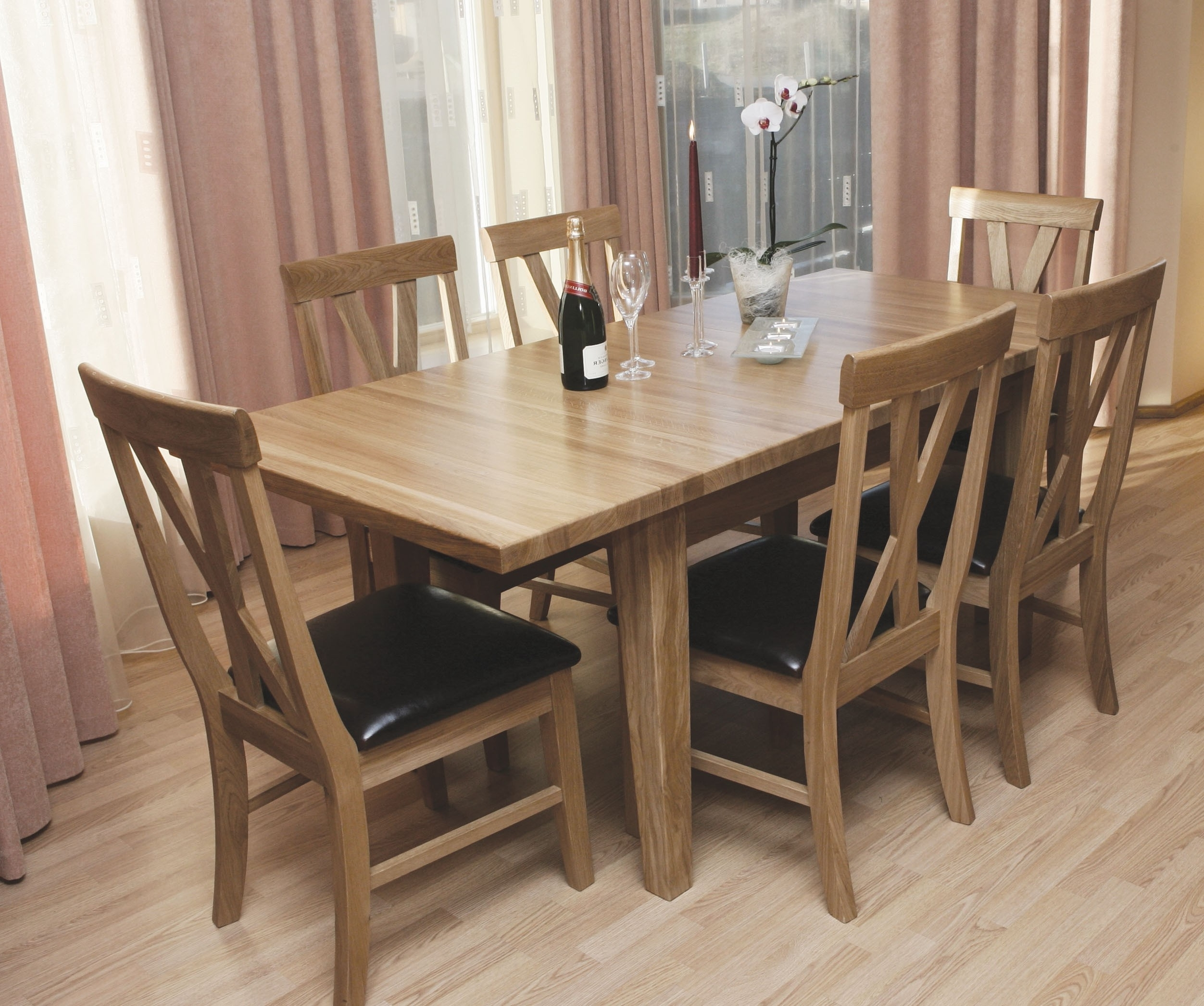 Newest Oak Furniture Dining Sets Throughout Tch Warwick 6 Seat Dining Table & Chairs Set Solid Oak – Furniture (Gallery 4 of 25)