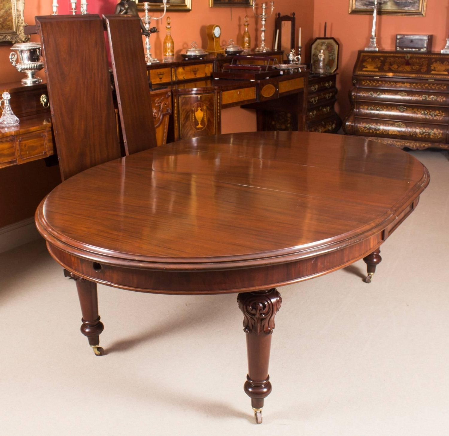 Newest Oval Extending Dining Tables And Chairs Within 19Th Century Victorian Oval Extending Dining Table And Ten Chairs (View 17 of 25)