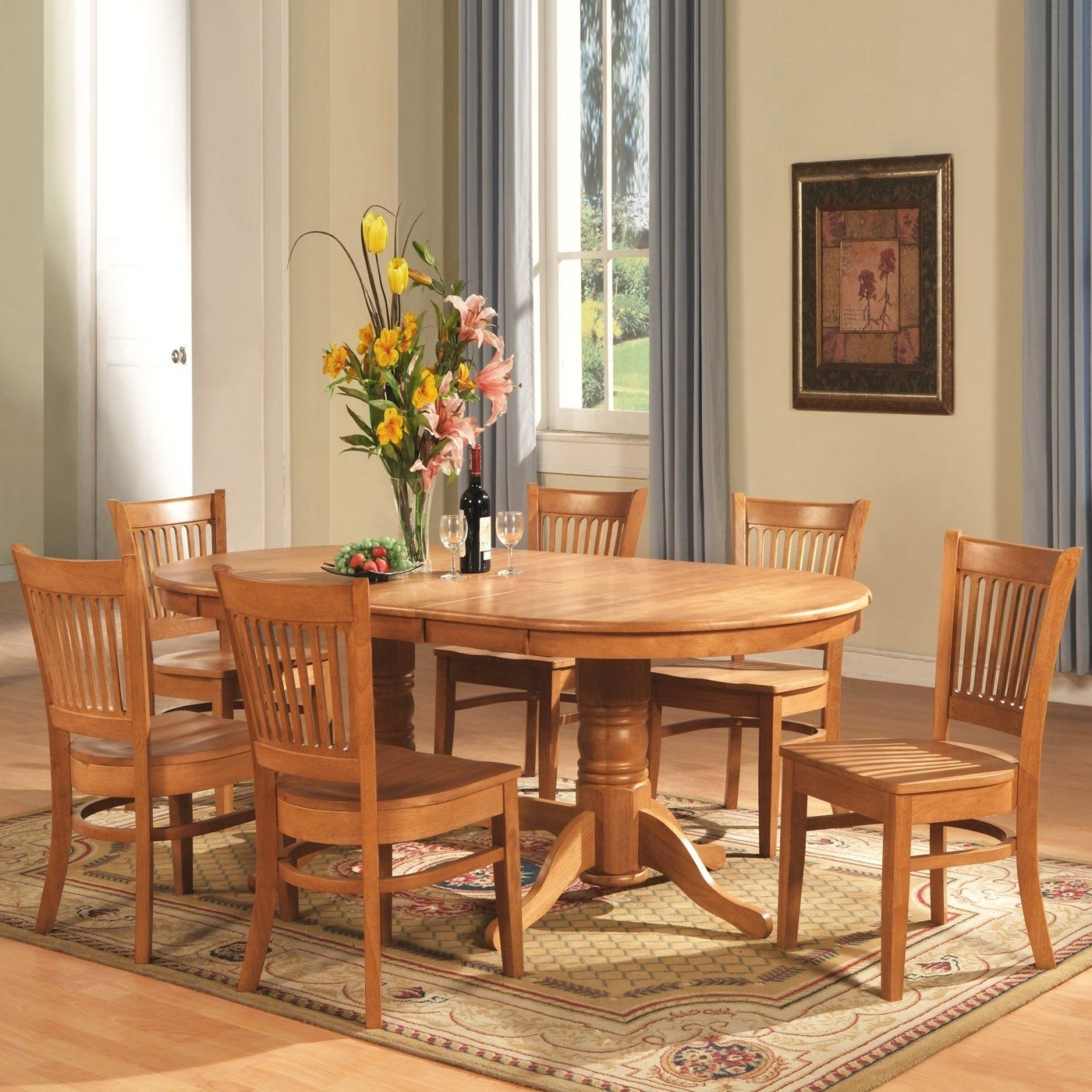 Newest Oval Oak Dining Tables And Chairs Regarding East West Furniture 8 Piece Vancouver Oval Table Dining Set, Oak (View 6 of 25)
