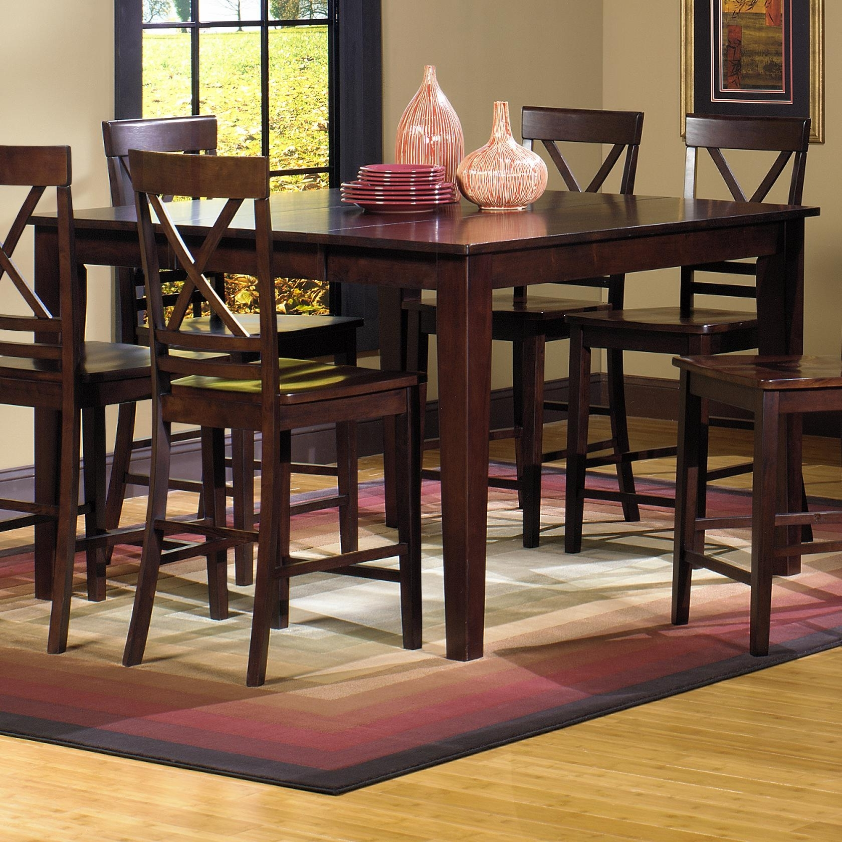 Newest Progressive Furniture Winston Counter Dining Table With Self Storing Inside Lindy Espresso Rectangle Dining Tables (View 20 of 25)