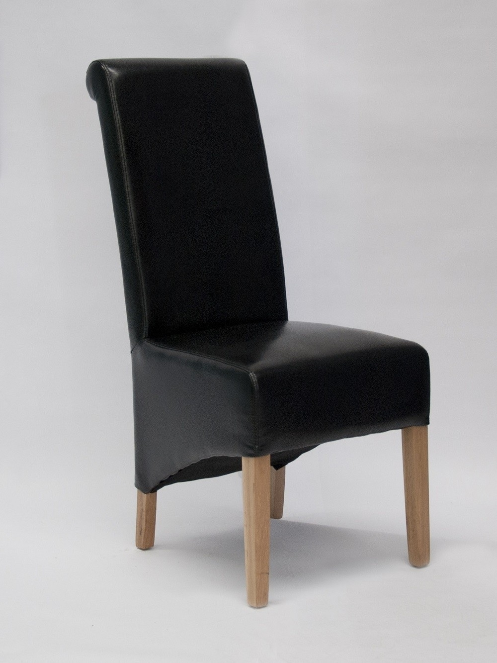 Newest Richmond Black Leather Dining Chair Solid Oak Legs (View 8 of 25)