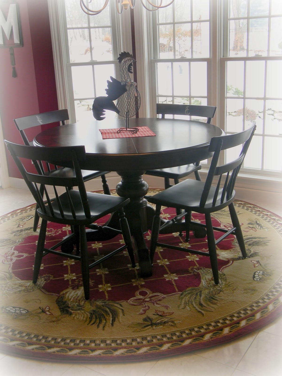 Newest Round Assorted Color Rug Under Black Wooden Dining Table Set Room Throughout Half Moon Dining Table Sets (View 18 of 25)