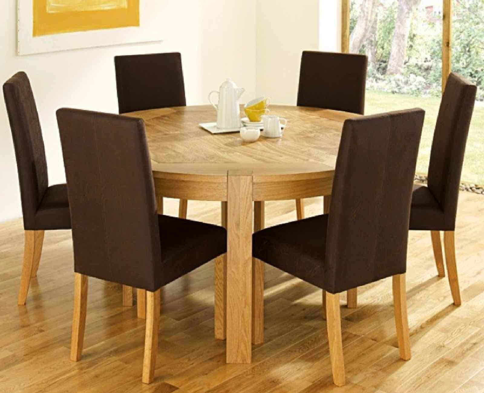 Newest Round Dining Table Set For 6 - Castrophotos pertaining to Parquet 6 Piece Dining Sets