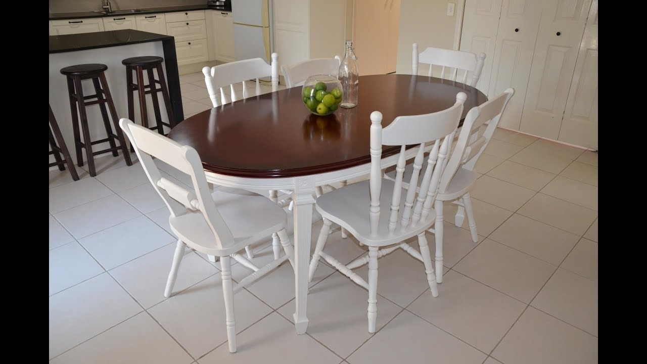 Newest Shabby Chic French Provincial Dining Suite Makeover - Youtube in White Dining Suites