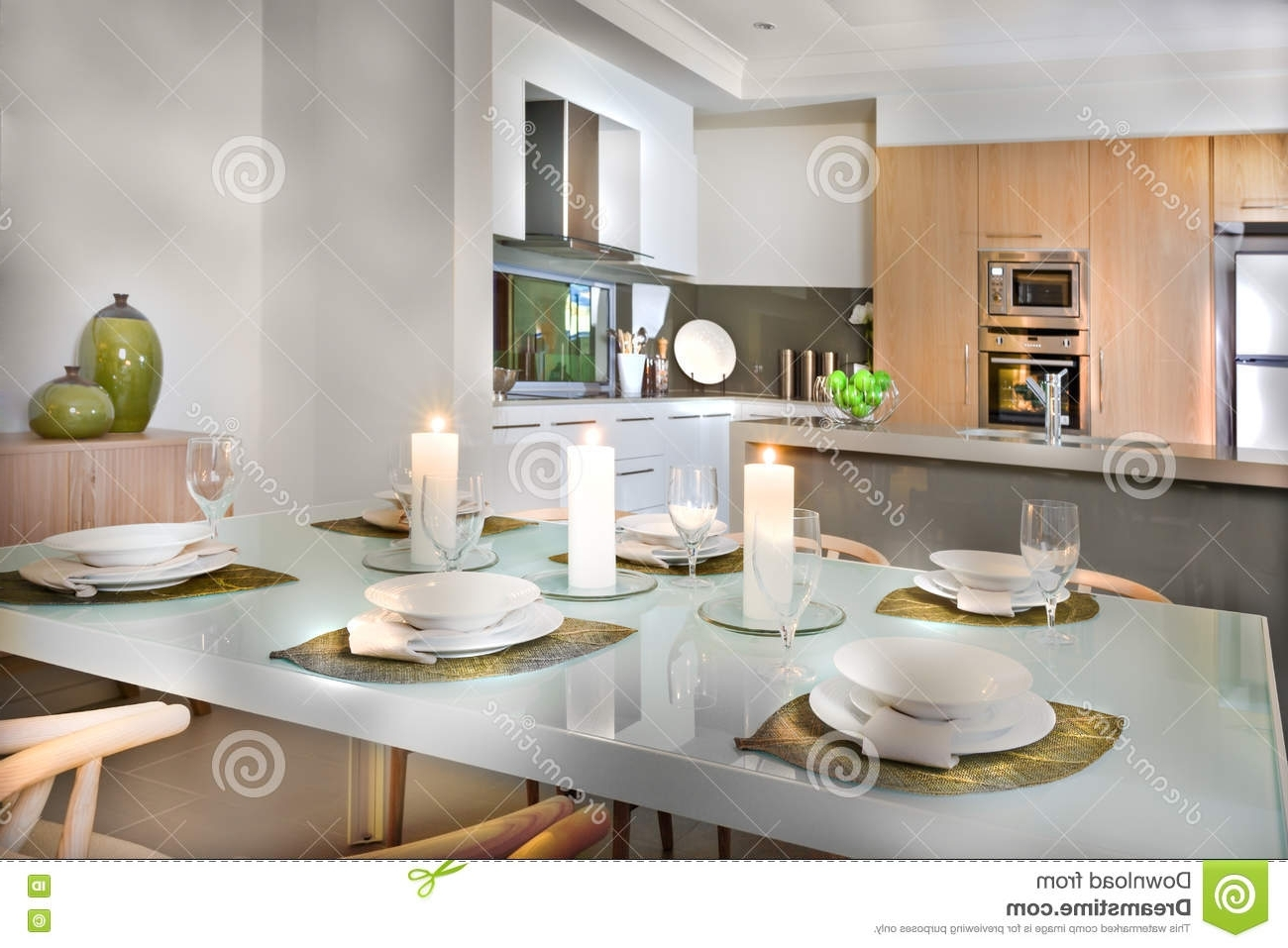 Newest Shiny White Dining Tables Within Luxurious Dining Room Table Set Up Near To The Kitchen Stock Image (View 14 of 25)