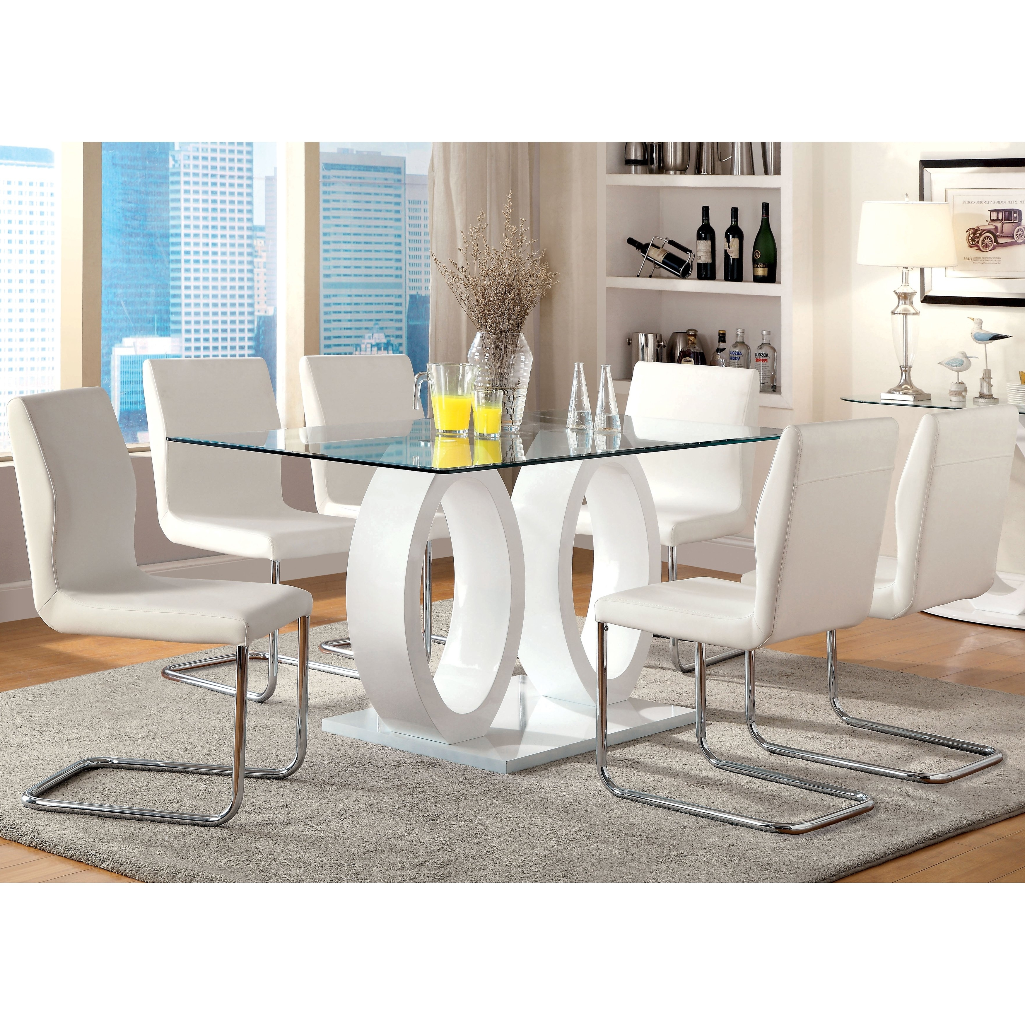 Newest Shop Furniture Of America Olgette Contemporary High Gloss Dining Intended For High Gloss Dining Room Furniture (Gallery 19 of 25)