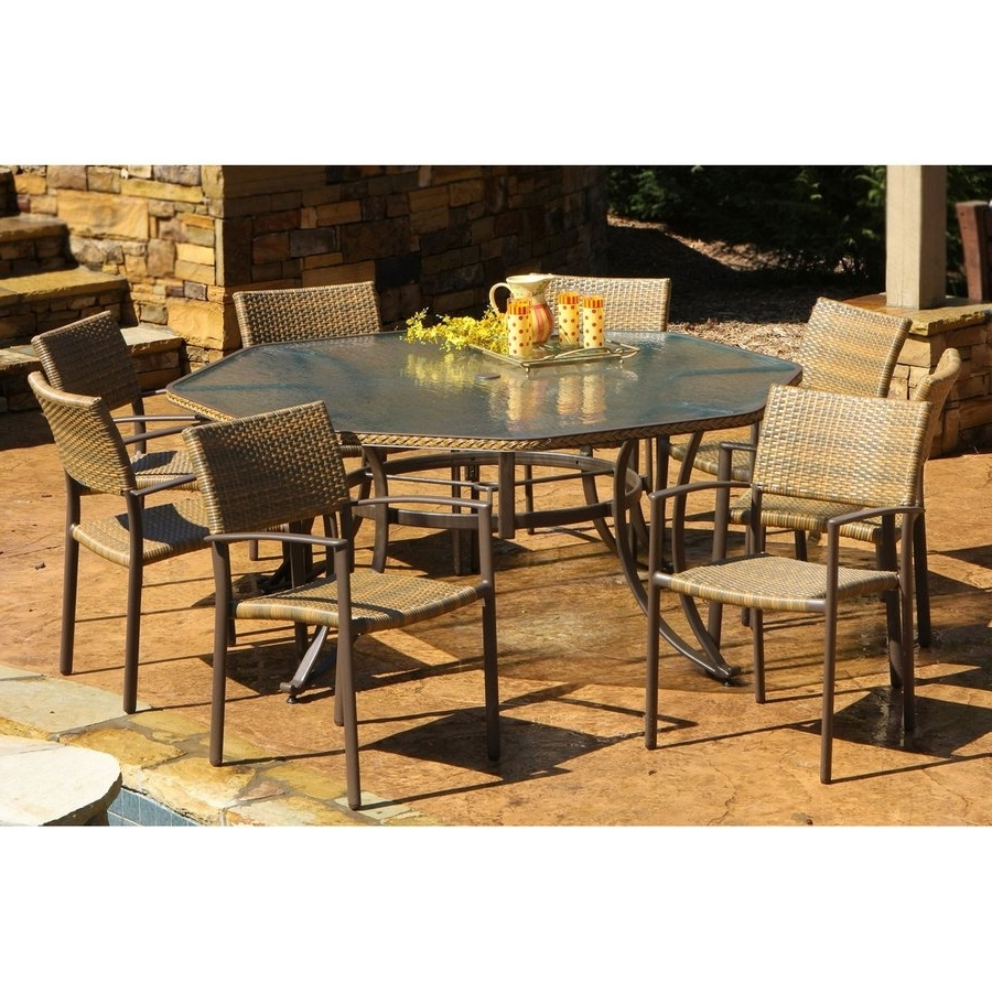 Newest Shop Tortuga Outdoor Maracay 9 Piece Gray Wood Frame Wicker Patio With Regard To Outdoor Tortuga Dining Tables (Gallery 2 of 25)