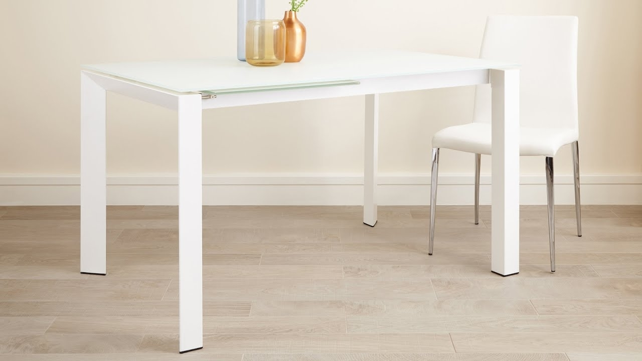 Newest Small White Extending Dining Tables Pertaining To White Frosted Glass Extending Dining Table With Painted White Legs (Gallery 24 of 25)
