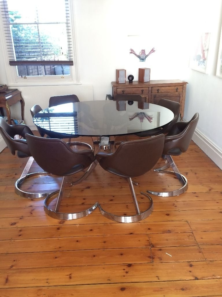 Newest Smoked Glass Dining Tables And Chairs Regarding Price Reduction Mid Century Vintage Retro Smoked Glass Dining Table (View 8 of 25)