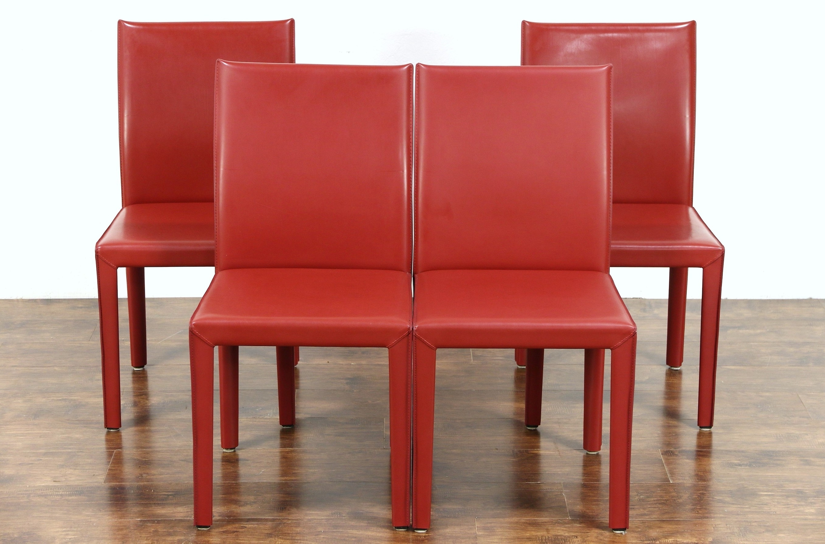 Newest Sold – Set Of 4 Red Leather Dining Or Game Table Chairs, Signed Regarding Red Leather Dining Chairs (Gallery 5 of 25)