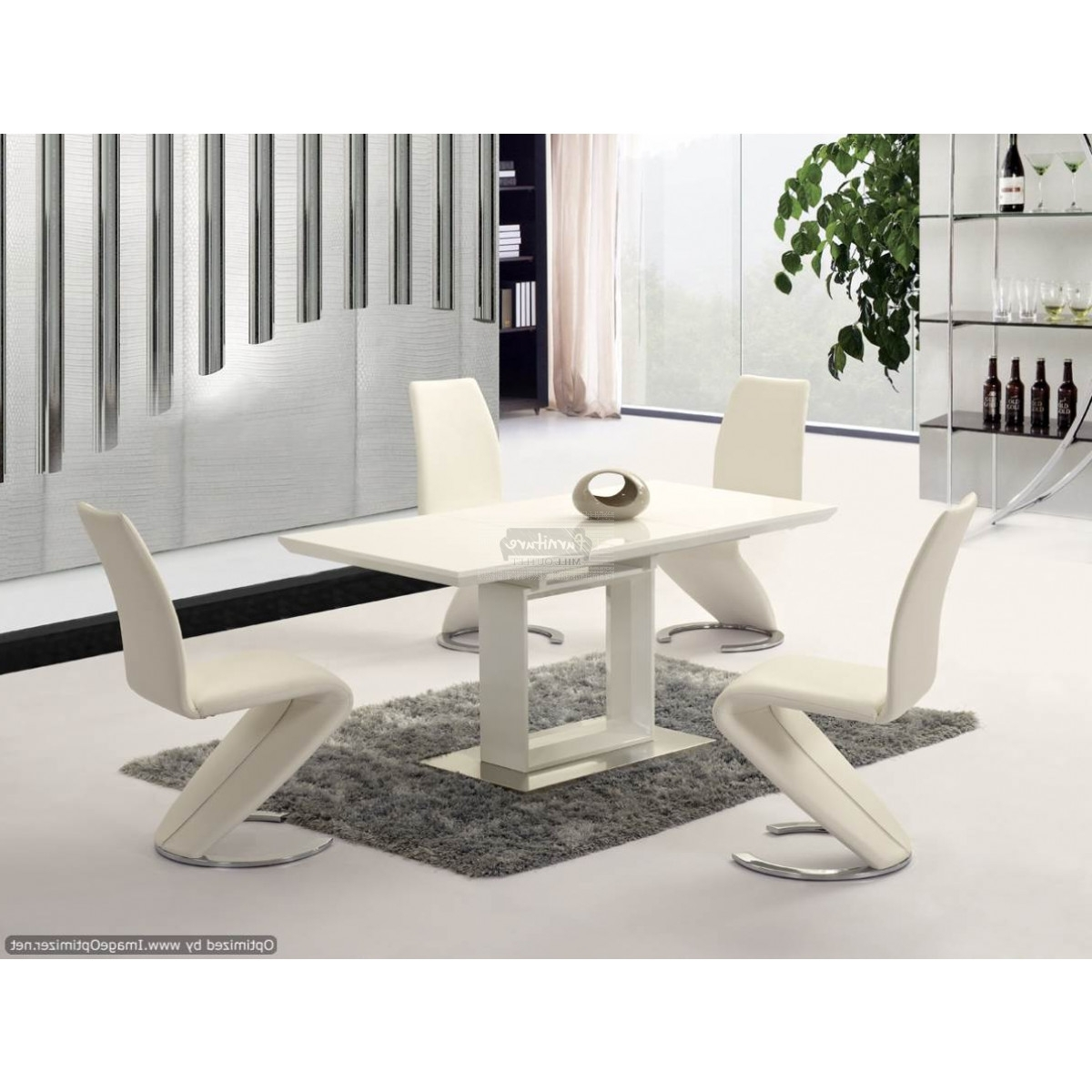 Newest Space White High Gloss Extending Dining Table – 120Cm To 160Cm For White Extending Dining Tables And Chairs (Gallery 5 of 25)