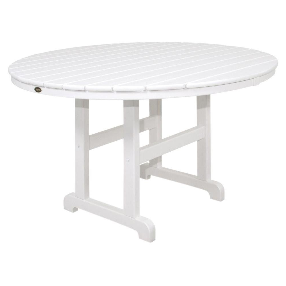 Newest Trex Outdoor Furniture Monterey Bay 48 In. Classic White Round Patio In White Circle Dining Tables (Gallery 25 of 25)