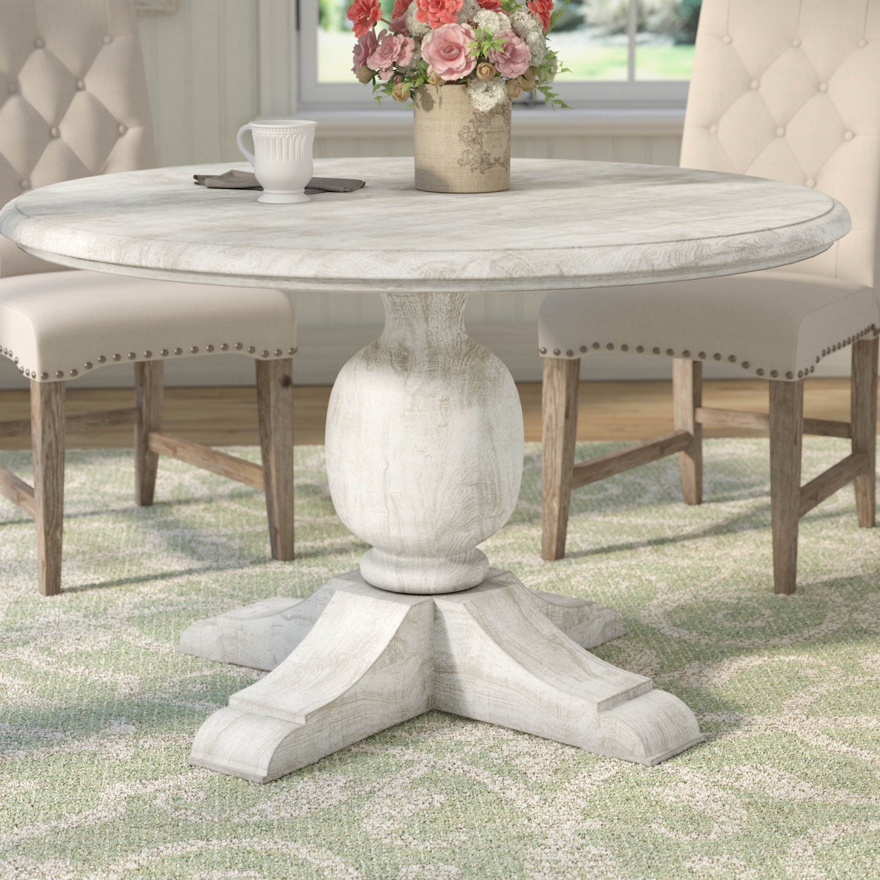 Newest Valencia 5 Piece Round Dining Sets With Uph Seat Side Chairs Throughout One Allium Way Valencia Dining Table & Reviews (View 23 of 25)