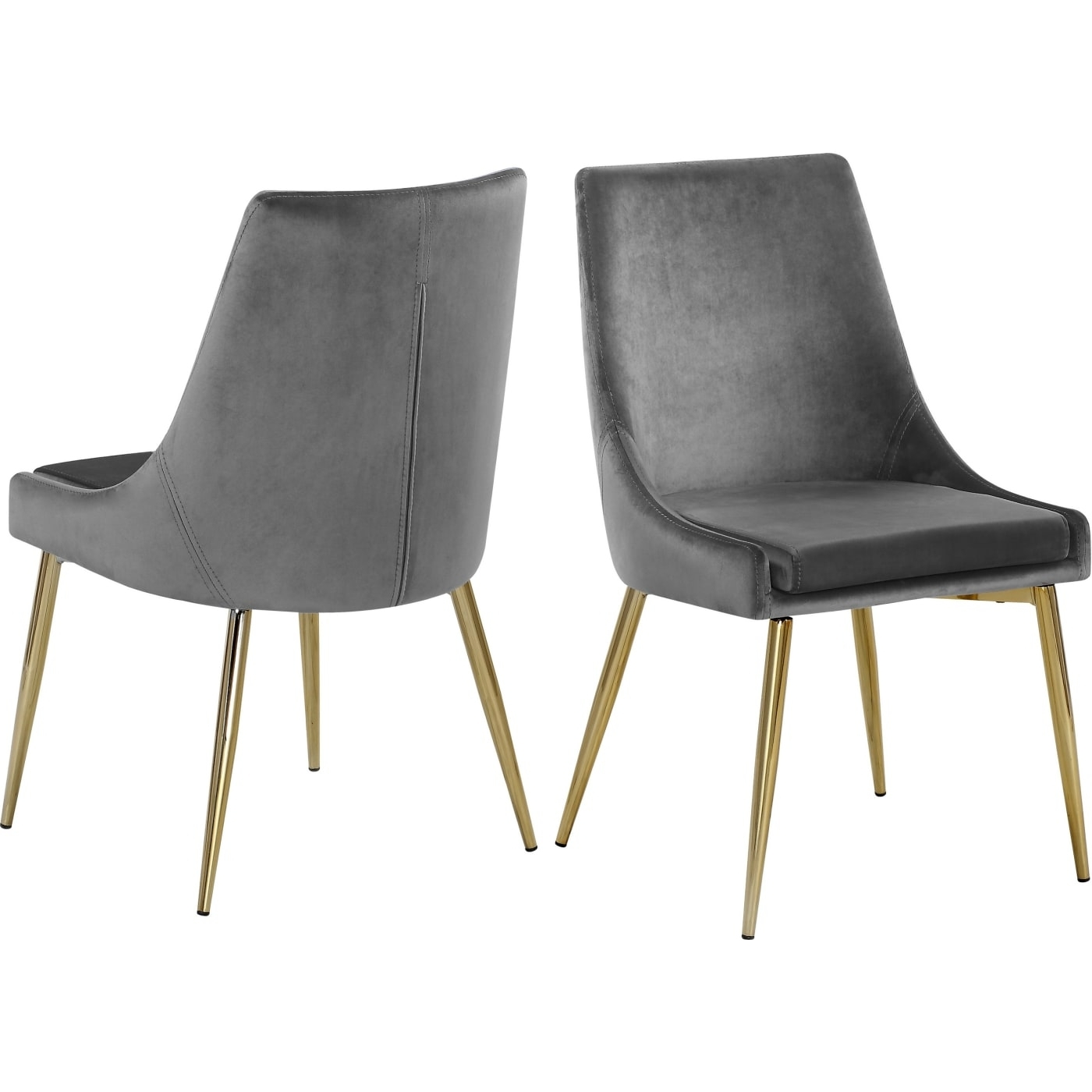 Newest Velvet Dining Chairs Pertaining To Meridian Karina Grey Velvet Dining Chair – Set Of 2 & Reviews (View 15 of 25)