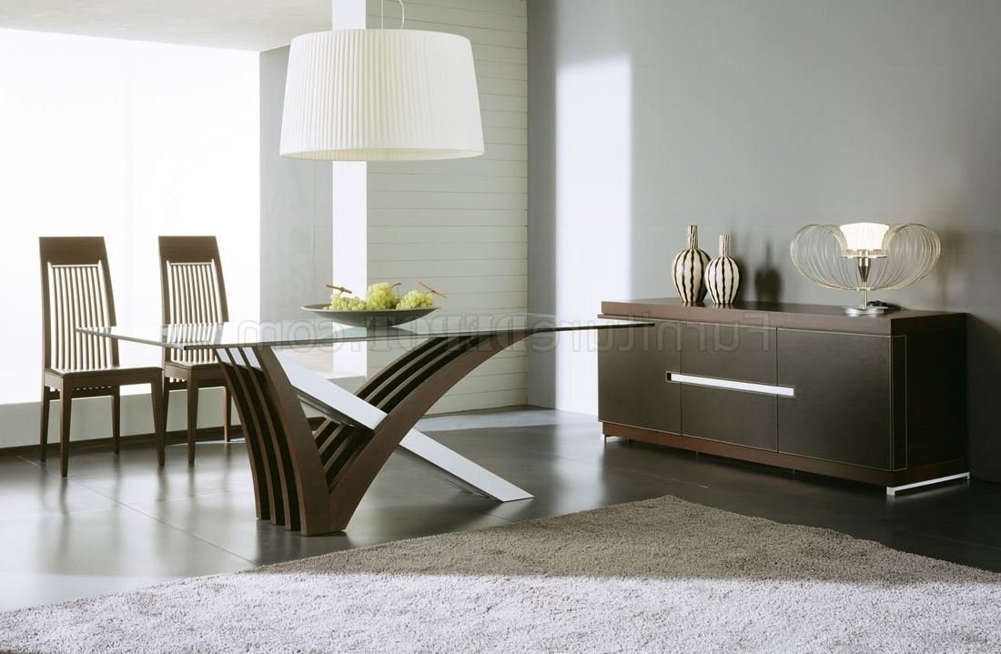 Newest Wenge Finish Contemporary Dining Table W/satin Steel Base Design Intended For Contemporary Base Dining Tables (Gallery 23 of 25)