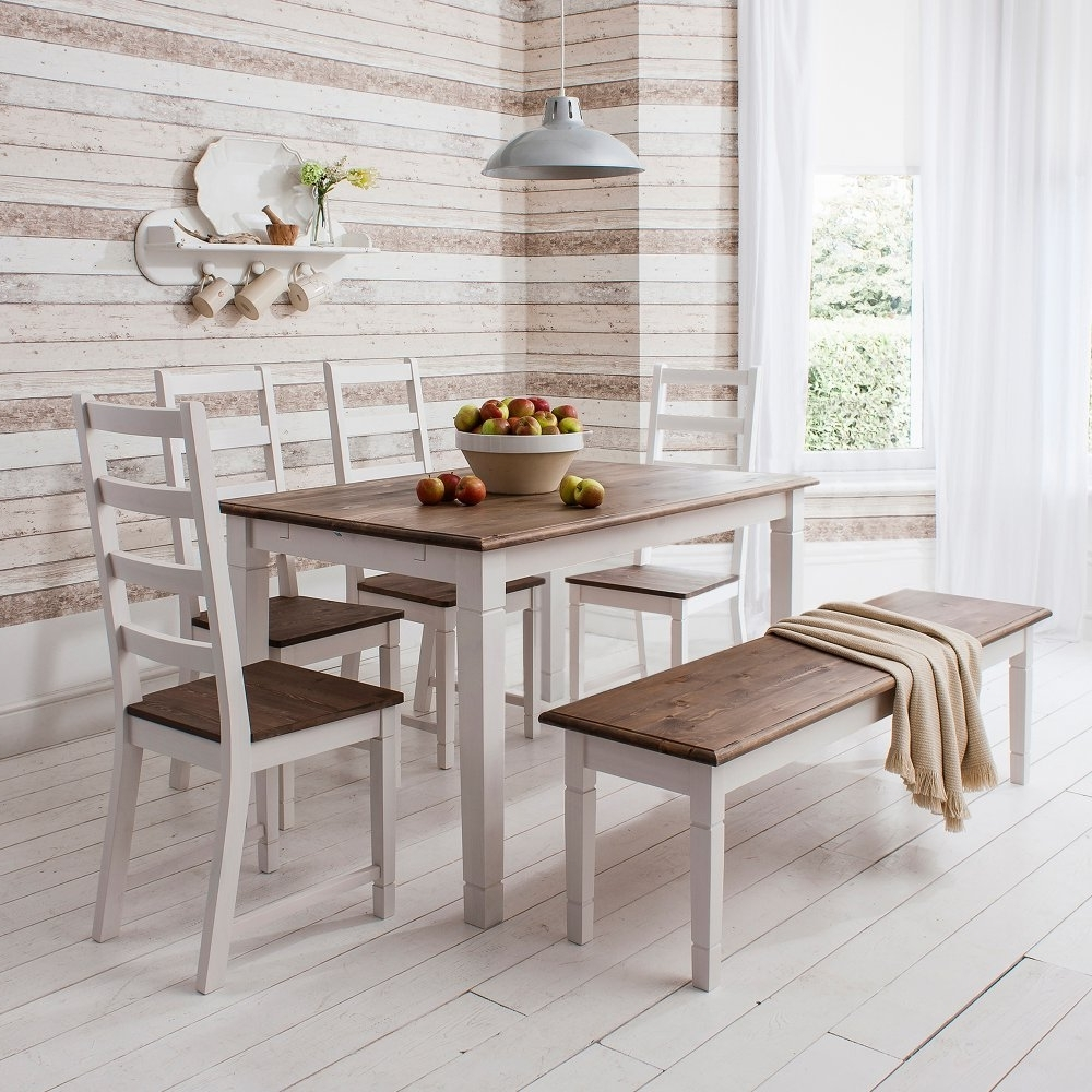 Newest White Dining Tables And Chairs pertaining to Canterbury Dining Table With 4 Chairs & Bench