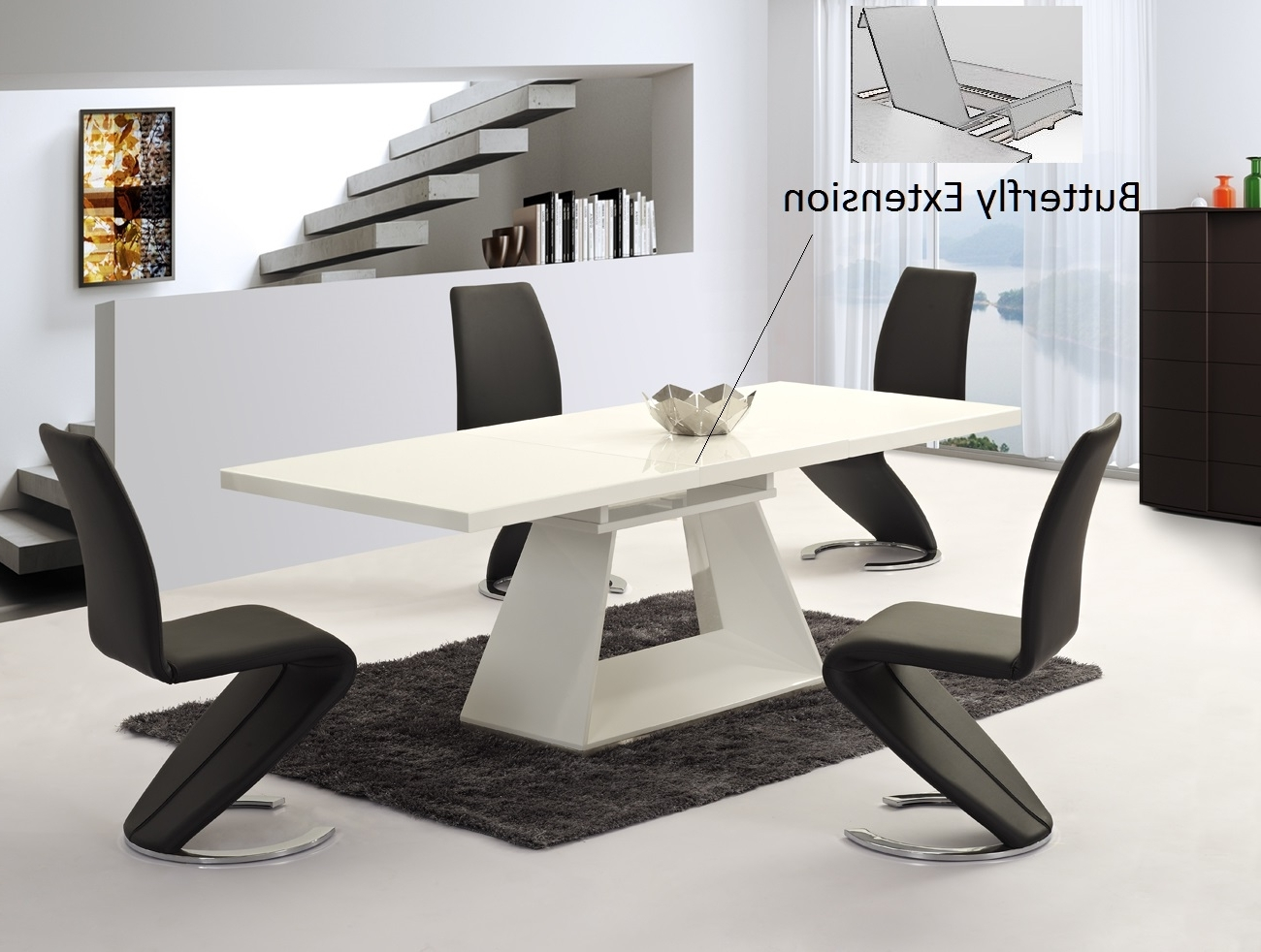 Newest White Gloss Extendable Dining Tables in Ga Silvano Extending White Gloss 160 220Cm Dining Table & Luciano Chairs