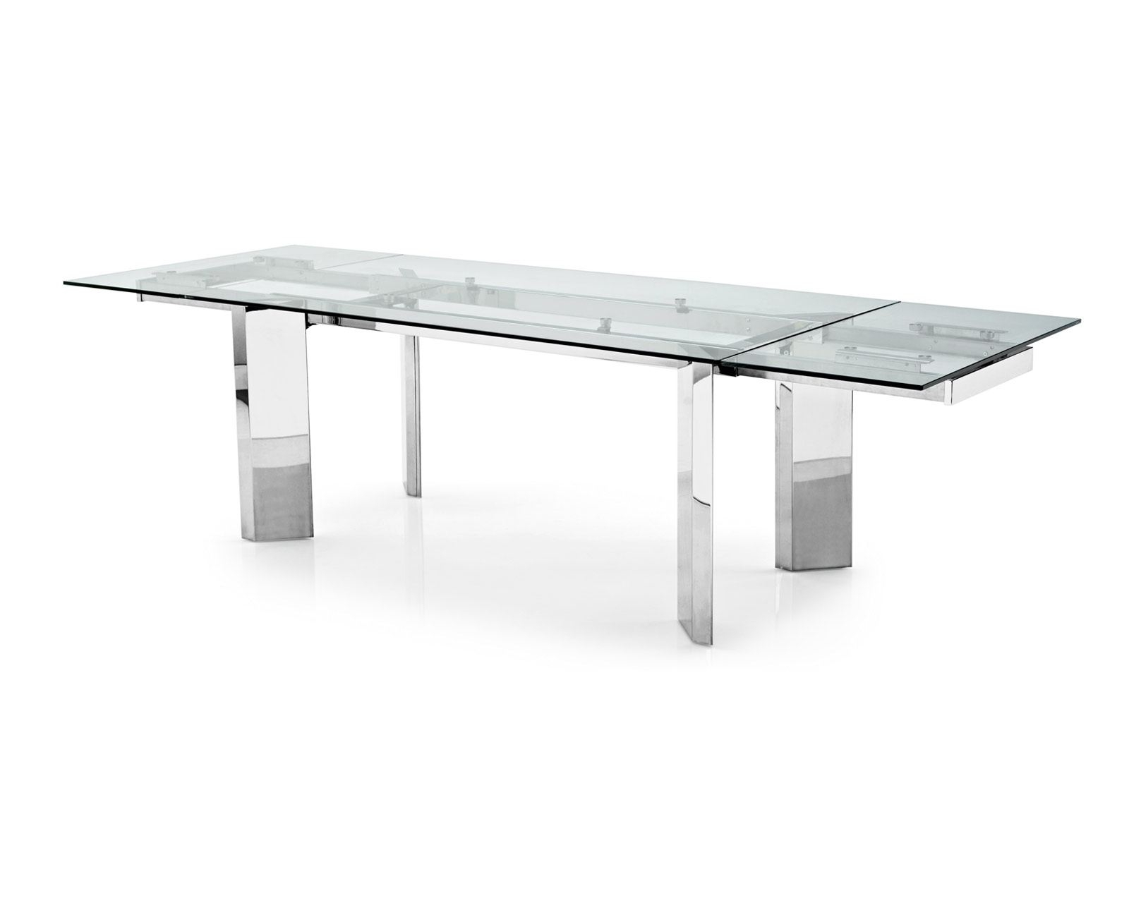 Newest Wonderful Round Glass Dining Table With Four Chrome Metal Base Be Intended For Chrome Glass Dining Tables (Gallery 17 of 25)