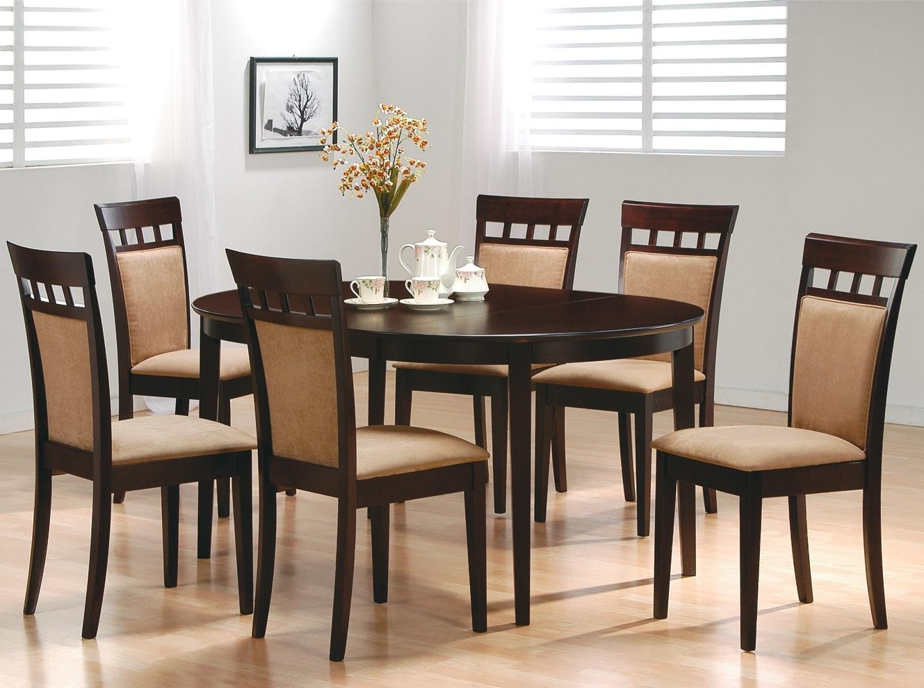 Newest Wooden Dining Tables And 6 Chairs with Coaster Mix & Match 7 Piece Dining Set