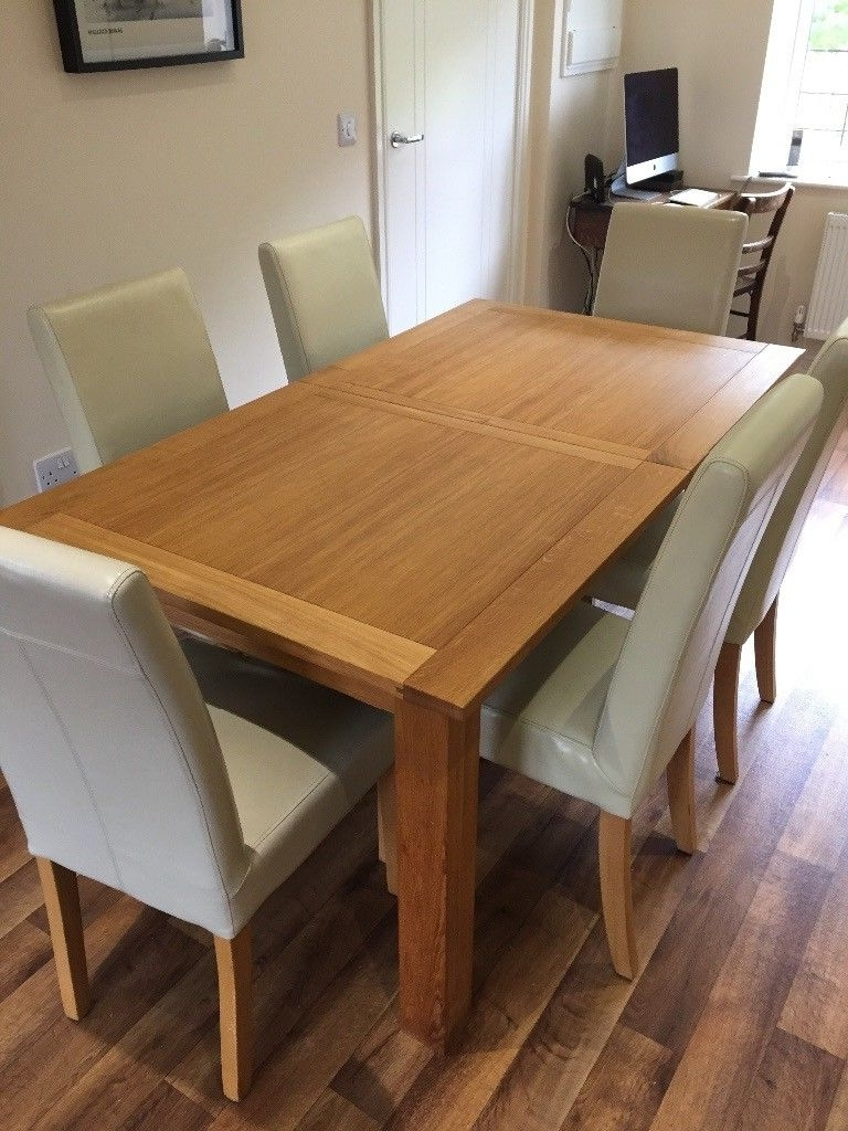 Next Cambridge Solid Oak Extending Dining Table And 6 Leather Chairs Regarding Latest Extending Dining Table And Chairs (View 17 of 25)