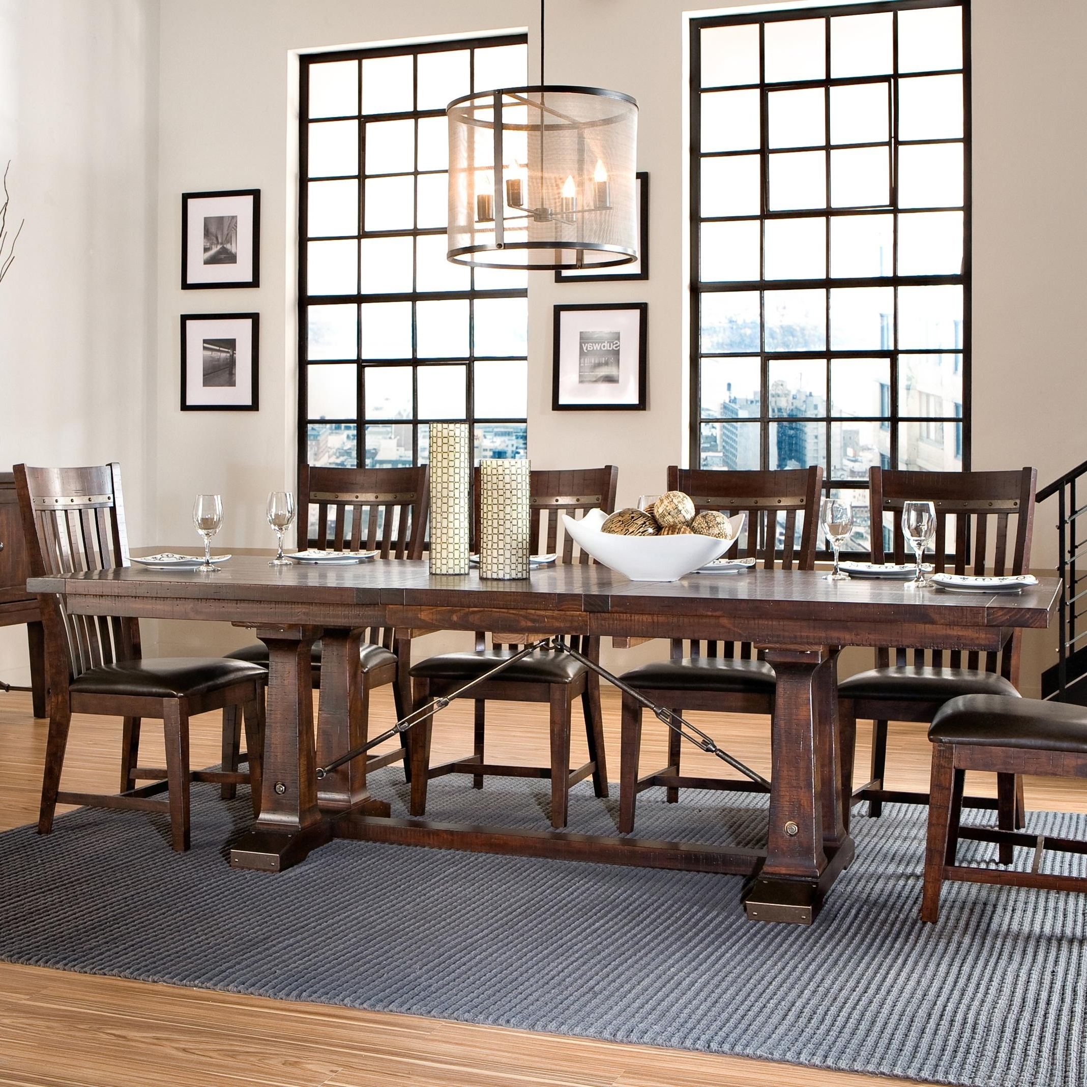 Next Hudson Dining Tables Within Trendy Intercon Hayden Trestle Dining Table With Metal Table Slides (View 18 of 25)