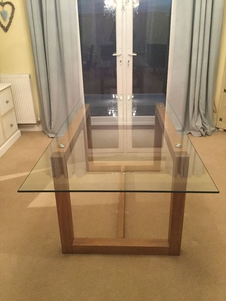 Next Solid Oak Frame Glass Top Dining Table (View 4 of 25)