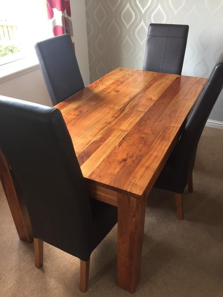 Next Solid Wood Dining Table With 4 Leather Chairs, Side Unit & Cube Throughout Current Cube Dining Tables (Gallery 24 of 25)