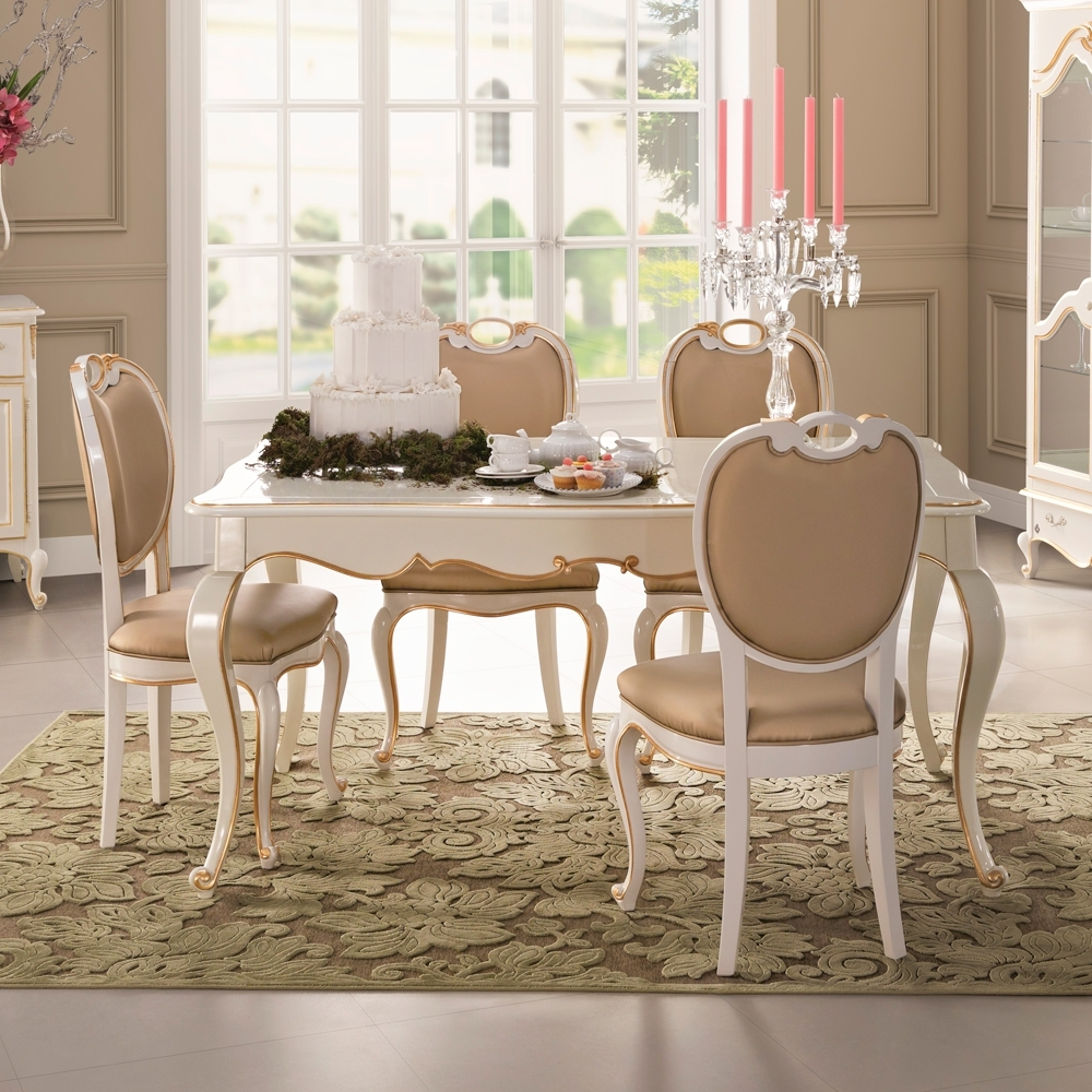 Next White Dining Tables With Favorite Square Louis Reproduction White Dining Table Set (View 15 of 25)