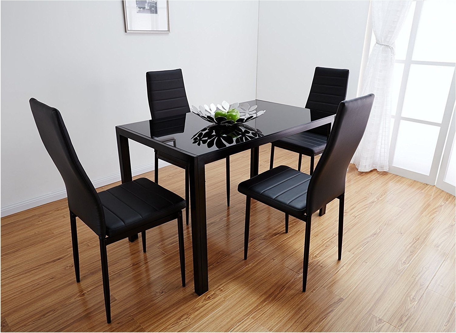 Nice Black Glass Dining Table Set With 4 Faux Leather Chairs Brand For Most Popular Black Glass Dining Tables And 6 Chairs (View 9 of 25)