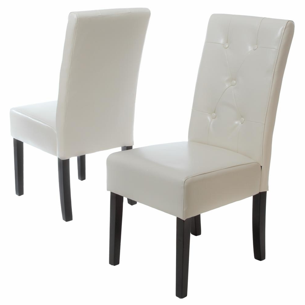 Noble House Taylor Ivory Bonded Leather Dining Chair (Set Of 2 regarding Favorite Ivory Leather Dining Chairs