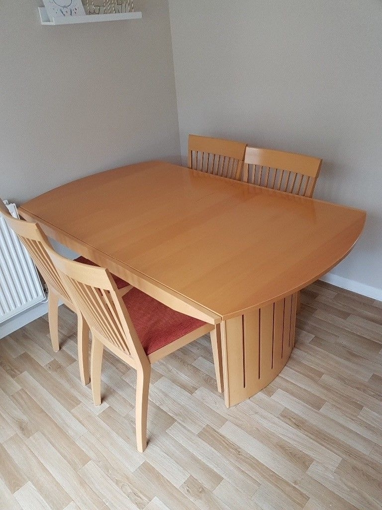 Non Wood Dining Tables For Popular Extendable Pine Dining Table With 4 Chairs. Very Good Condition (View 17 of 25)