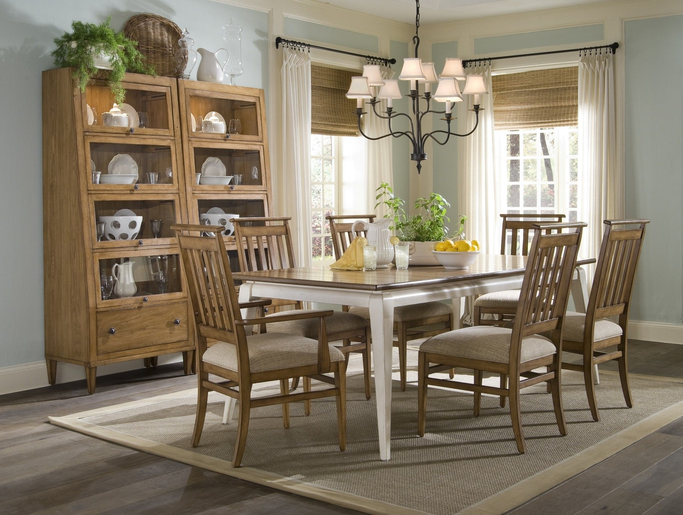Norwood 6 Piece Rectangular Extension Dining Sets With Upholstered Side Chairs Inside 2018 Country Dining Room Furniture Inside Modern Design White Decorating (View 11 of 25)