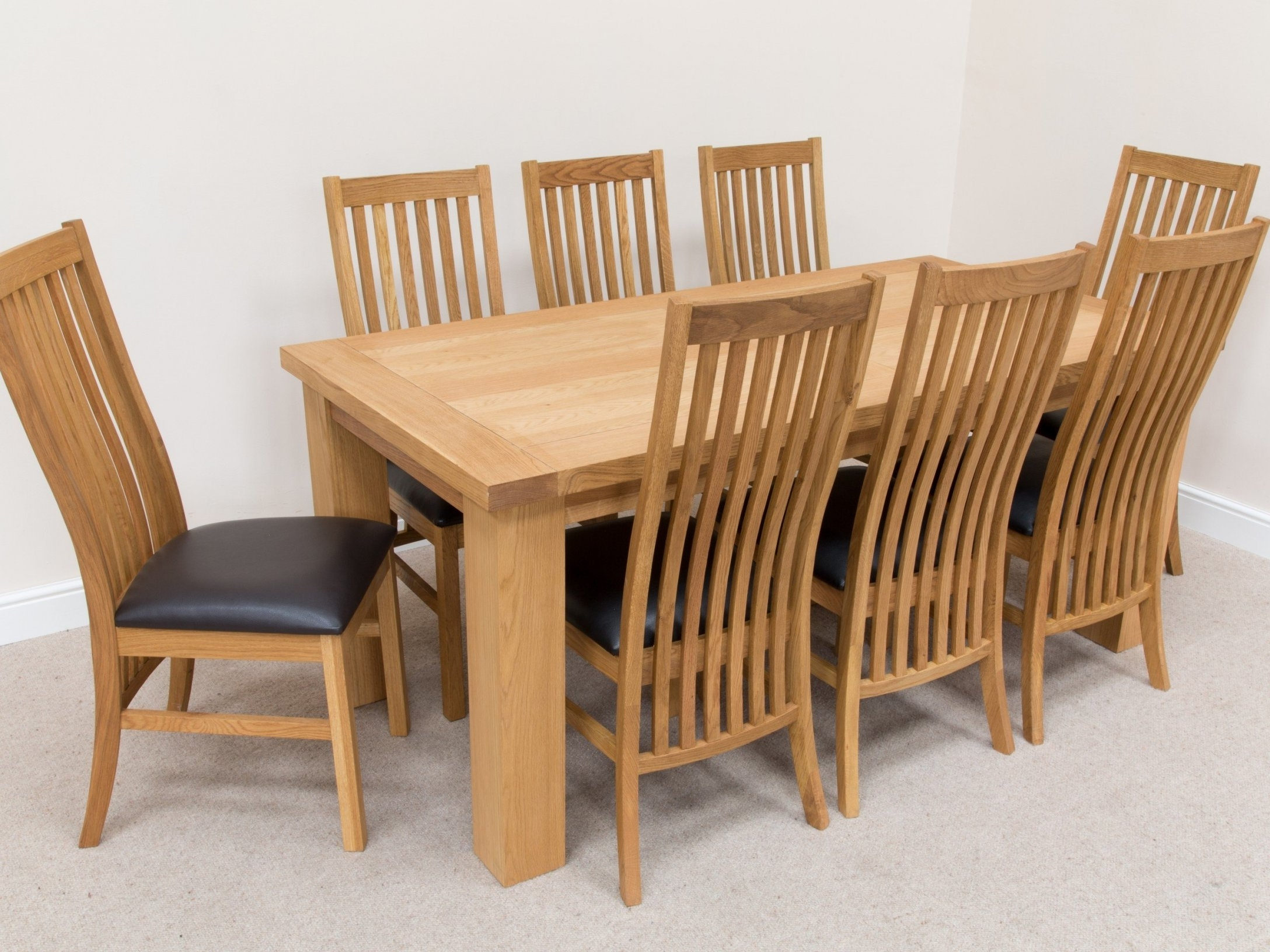 Oak 6 Seater Dining Tables With Regard To Popular Solid Wood Dining Table Set – Castrophotos (View 21 of 25)