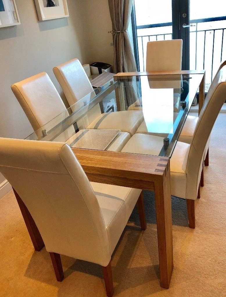 Oak And Glass Dining Tables And Chairs Regarding Most Current Solid Oak And Glass Dining Table – £150 (Table Good Condition) (View 18 of 25)