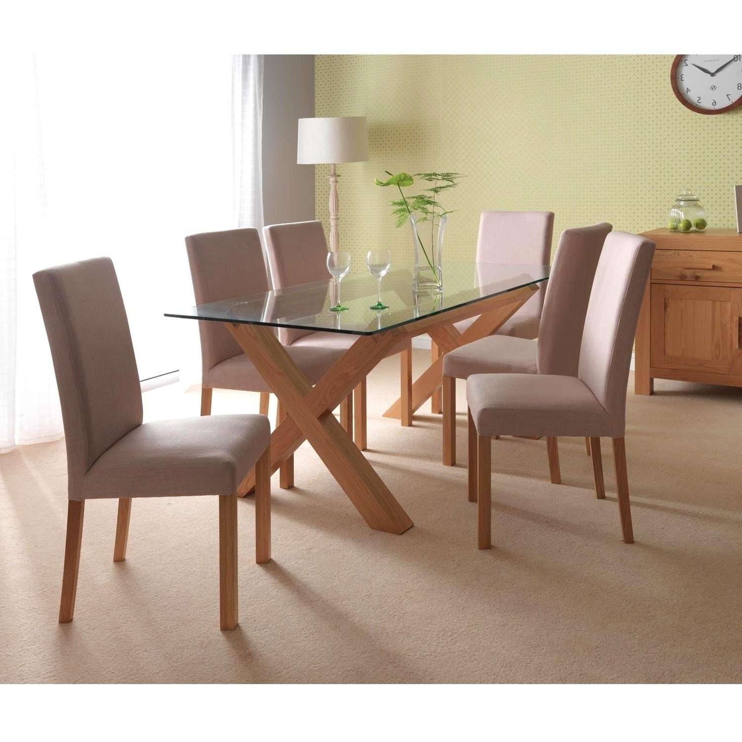 Oak And Glass Dining Tables For Widely Used Fascinating Oak Glass Dining Tables Ideas Winsome Dining Space    (View 11 of 25)