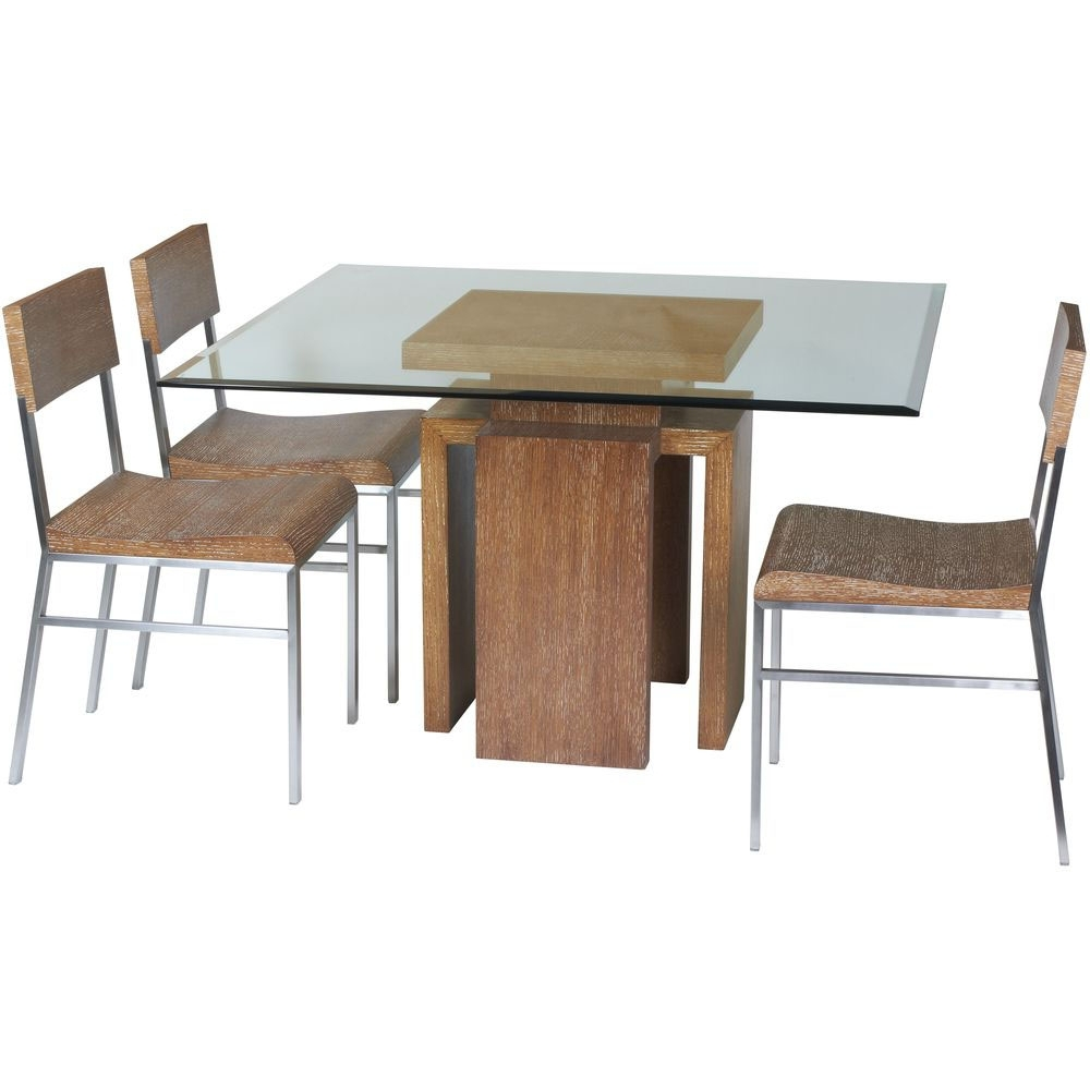 Oak And Glass Dining Tables Sets Pertaining To Most Current Gorgeous Small Modern Dining Room Decoration Using Solid Oak Wood (View 18 of 25)