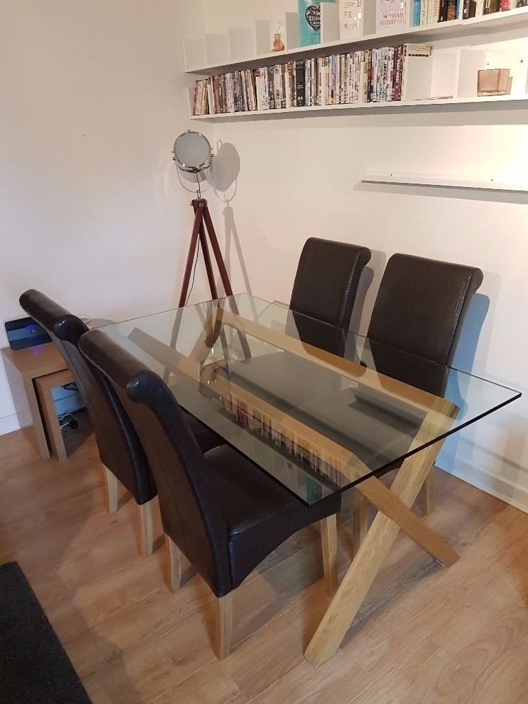 Oak And Glass Dining Tables Within Well Known Next Glass And Oak Dining Table Including Four New Faux Leather (View 2 of 25)